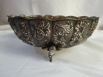Vintage 40s SILVER PLATED Ornate Fruit Bowl METAL Cherub angel FOOTED Patina