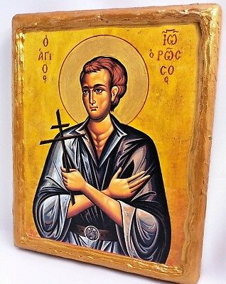 Saint John The Russian Ivan Ioannis Athos Greek Orthodox Byzantine Icon on Wood