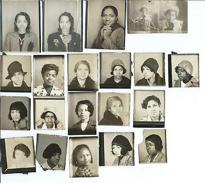 Lot of 20 Photo Booth Photos ~ African American Women & Girls, 1930s? KY