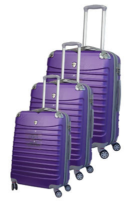 New Milano Milano ABS Luxury Shockproof Luggage 3pc Set Purple