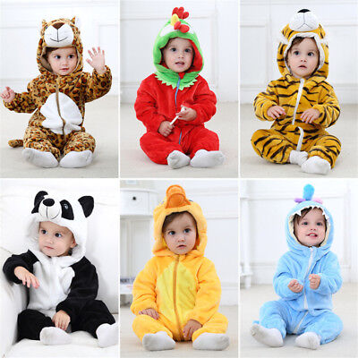 Baby Romper Flannel Jumpsuit Animal Halloween Cosplay Outfits Winter Autumn Kids