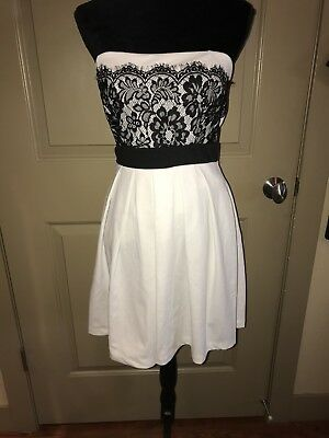 e7074f7d2fe Juniors L Mystic Off White Cream Black Lace Strapless Short Semi Formal  Dress
