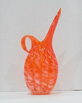 Vintage Brinn's Pittsburg Hand Blown Art Orange Glass Pitcher
