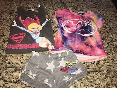 Lot of 3 DC Comics Superheros Girls Clothing Items Size XS 4 5