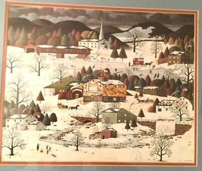 Charles Wysocki Vintage Winter New England Town Folk Art Print Oak Framed