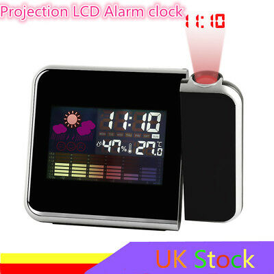 Digital LCD Alarm Clock Time Projector Weather Thermometer Snooze Backlight UK M