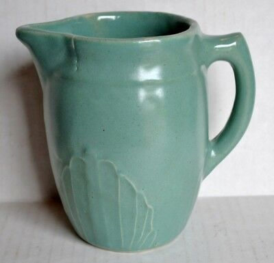 Vintage MONMOUTH Art Pottery Milk PITCHER Aqua Stoneware w/Embossed Fan Design
