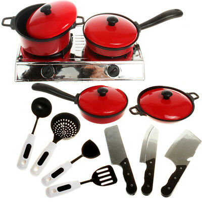 Kids Play House Toy Kitchen Cooking Food Utensils Pans Pots Dishes Cookware Set❤