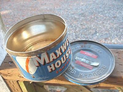 Vintage Maxwell House Blue 1 Pound Coffee Can Tin key wind w/ Lid~FREE SHIPPING
