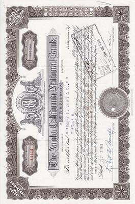Stock Cerf.: Anglo California National Bank, Punch Cancel (S8506)
