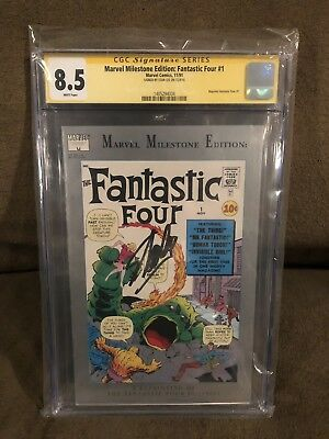 Fantastic Four 1 Marvel Milestone Reprint Cgc 8.5 Signed By Stan The Man Lee !!!