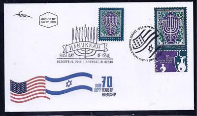 Israel Usa United States 2018 Joint Issue Both Stamps Ips Fdc Hanukkah