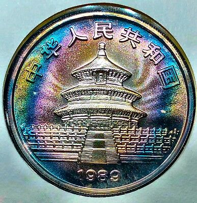1989 Chinese 10 Yuan Silver Panda 1 oz RAW BU Rare With Stamps And Card
