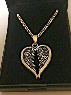 10 x New Angel Wings Heart Pendants & Silver Plated Necklaces 18 inch