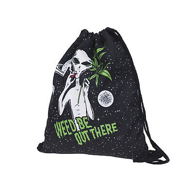 Cute Cool Alien Non-woven Drawstring Bags Backpack Adult Gym Tote Bag Sport Bag