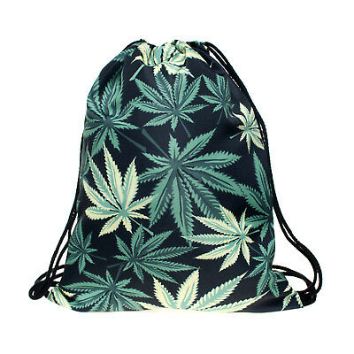 Green Cannabis Leaf Non-woven Drawstring Bag Backpack Adult Sport Tote Bag