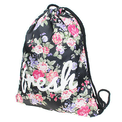 Blooming  Flowers Non-woven Drawstring Bags Backpack Gym Tote Bag Sport Bag