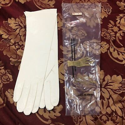 Vintage Italian Made Ivory Kid Leather Gloves Womens Size 7 - New In Bag!!