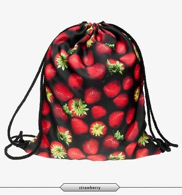 Vintage Red Strawberry Non-woven Drawstring Bags Backpack Gym Tote Bag Sport Bag
