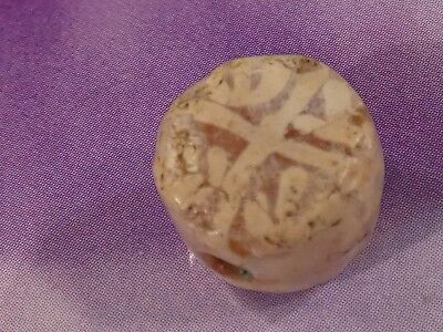 ANCIENT KUSHAN PERSIAN ETCHED AGATE CARNELIAN RARE PATTERN BEAD 11.2 by 8 MM TAB