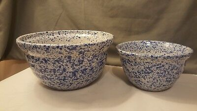 2 Vintage Monmouth IL USA Pottery Blue Splatter Ware Bowls