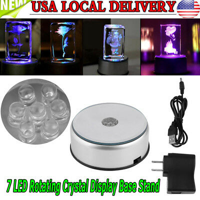 LED Colorful Light Rotating Crystal Display Base Stand Holder w/AC US Adapter US