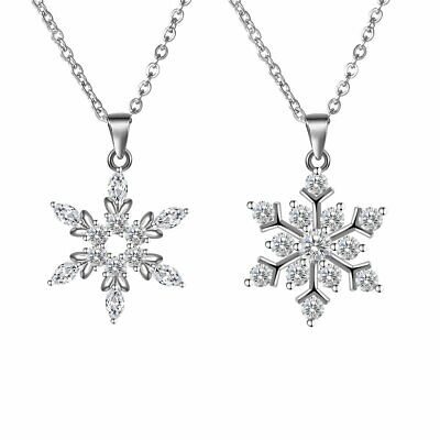 Snowflake Cubic Zirconia Pendant 925 Sterling Silver Necklace Chain Jewelry Xmas