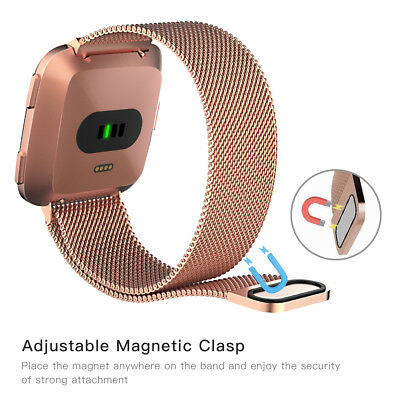 For Fitbit Versa Smart Watches With Milanese Loop Magnetic Stainless Steel Strap