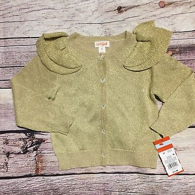 Cat And Jack  Girls 2T Gold Sparkly Shoulder Ruffle Cardigan Sweater NWT