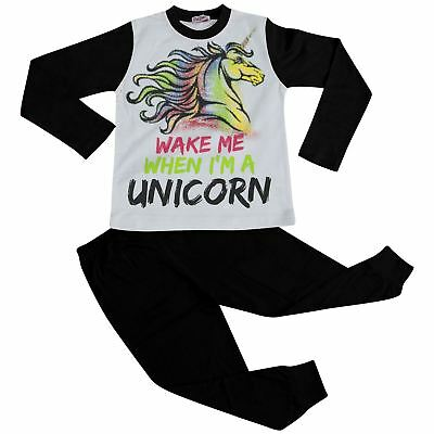 Girls Pyjamas Wake Me When I'M A Unicorn Lounge Wear Nightwear Black PJS 5-13 Yr