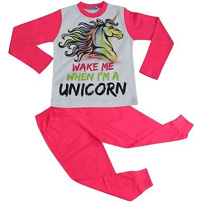 Kids Girls Pyjamas Wake Me When I'M A Unicorn Nightwear Loungewear Pink PJS 5-13