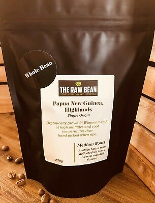 Specialty Organic Arabica Roasted Coffee Beans - Papua New Guinea Highlands 250g
