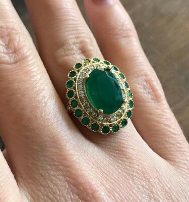 925 Sterling Silver Handmade Authentic Turkish Emerald Ladies Ring Size 7-9