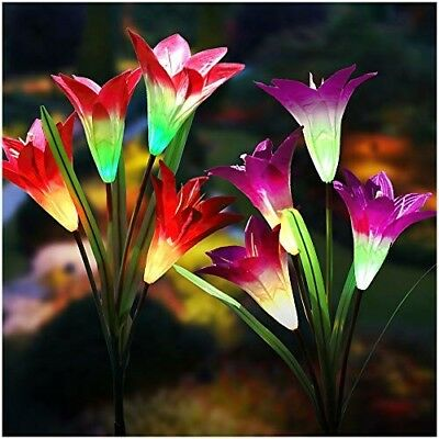 Lily Solar Flower Garden Lights, Outdoor Multi-Color Changing New Upgraded 2Pack