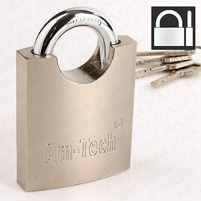 Large 60mm Padlock HARDENED STEEL CLOSED SHACKLE Wide High Security Door Lock Up