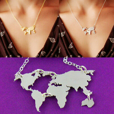 World Map Necklace pendant Globe Earth map wanderlust Chain Women Jewelry Gift
