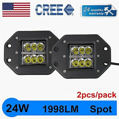 4X 5inch 24W Square LED Work Light Pods Spot Flush Mount Offroad Truck Jeep Lamp
