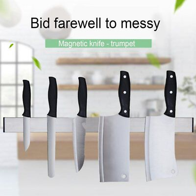 2PCS Magnetic Self-adhesive Knife Holder Stainless Steel Block Kitchen JS