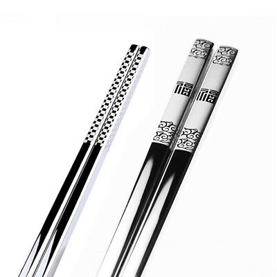 Non-slip Stainless Steel Chopsticks Metal Portable Healthy Chinese Food Cutlery