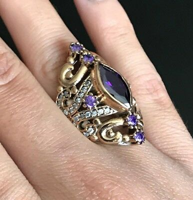 Turkish Handmade Sterling Silver 925k and Bronze Amethyst ring Size 7 8 9 10