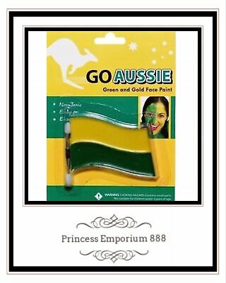 Go Aussie Green & Gold Face Paint Non Toxic Easy on Easy Off.