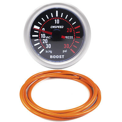 52mm CN-1 Smoked Turbo Boost Gauge -30 to 30 Psi With Orange Silicone Hose