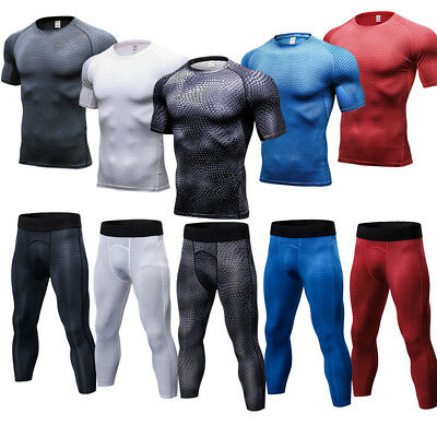 Mens Compression Tights 3/4 Length Gym Workout T-Shirts Slim fit Dri fit Wicking