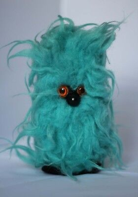 Vintage Rare 1960s Glook Gonk Furry Toy Turquoise Blue