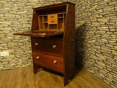 Antique Dark Solid Pine Wood Bureau Writing Desk With Drawers & Keys,home Office