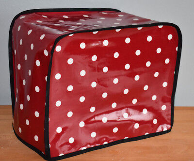 Kenwood Chef Food Mixer Cover Burgundy red dotty oilcloth