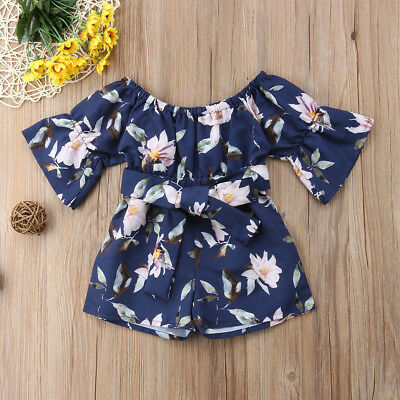 Toddler Kids Baby Girls Summer Strap Romper Jumpsuit Harem Shorts Clothes Outfit