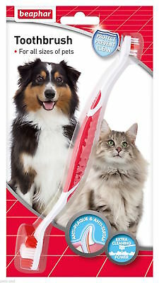 Beaphar Dog Cat Puppy Kitten DOUBLE SIDED TOOTHBRUSH Dental Brush Oral Care
