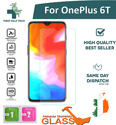 For OnePlus 6T / 1+6T  - Premium Tempered Glass Screen Protector Guard Film