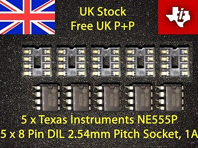 NE555 Timer Chips + IC Holders - 5 Pack- IC PCB - NE555P - Free UK P&P